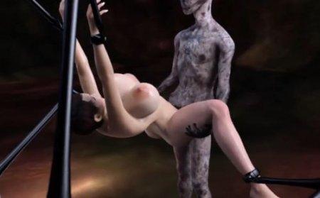 Инопланетный 3D монстр трахает девушку с огромными сиськами